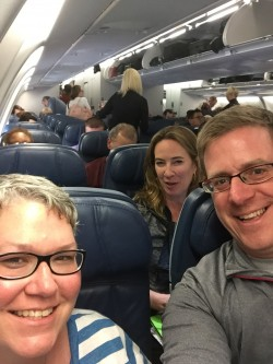 Jenn on plane to Rwanda
