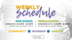 2021-2022 Youth Ministry Programming Weekly Schedule